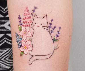 tattoo, cat, and cute image