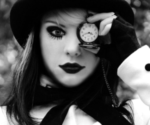 black and white, clock, and black image
