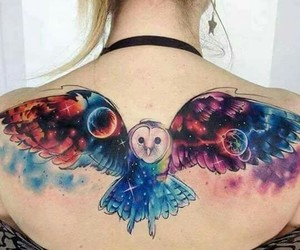 tattoo, owl, and galaxy image