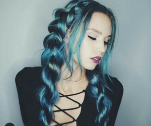 blue hair, braid, and color image