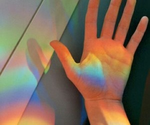 rainbow, hand, and colors image