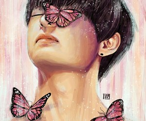 butterfly, pink, and v image