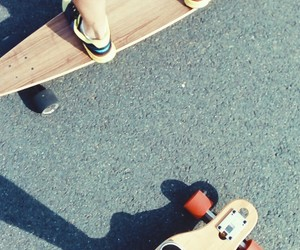 couple, longboard, and shoes image