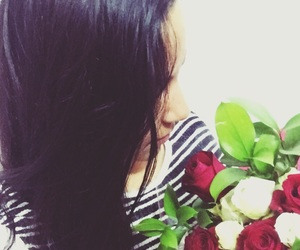 black, flores, and hair image