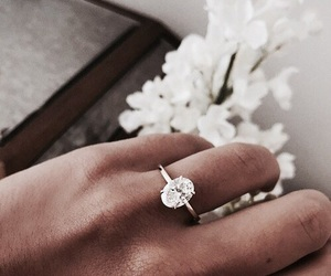 ring, flowers, and diamond image