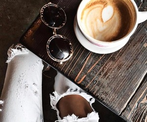 jeans, sunglasses, and coffee image