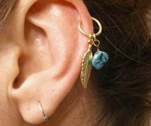 earring, piercing, and helix image
