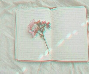 books, flowers, and grunge image