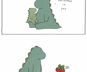 christmas, dinosaur, and gift image