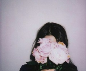 girl, flowers, and grunge image