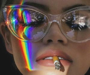 rainbow, girl, and cigarette image