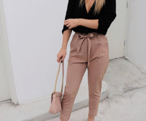 bag, pants, and blonde image