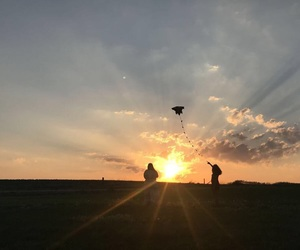 Flying, kite, and sunset image