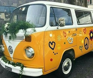 hippie, yellow, and car image