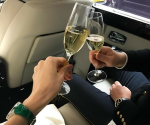 car, luxury, and champagne image