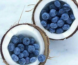 blueberries, coconut, and picture image
