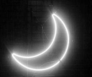 moon, light, and black image