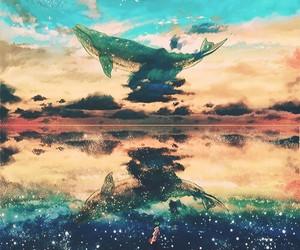 anime, sky, and whale image
