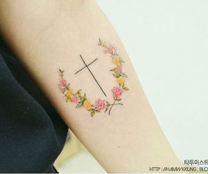 flowers, tattoo, and cross tattoo image