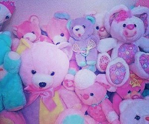 child, pink, and stuffies image
