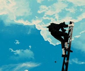 sky, anime, and blue image