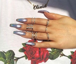 nails, rose, and rings image