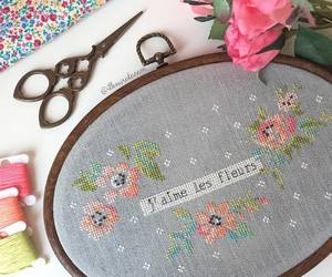 creation, cross-stitch, and flowers image
