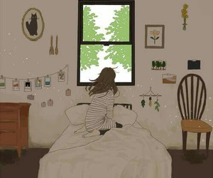 art, girl, and room image
