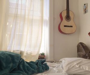 bed, aesthetic, and guitar image