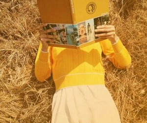 book, female, and yellow image
