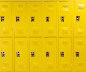 yellow, locker, and aesthetic image