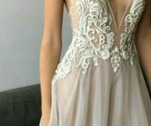 dress, silver, and Prom image