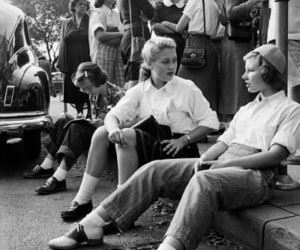 1950, black and white, and girls image