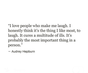 audrey hepburn, inspiring quotes, and laugh image