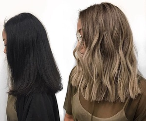 blonde, brunette, and hair style image