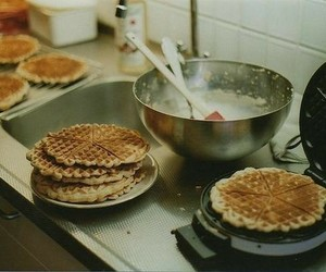 food, waffles, and vintage image