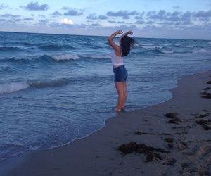 beach, wind, and girl image