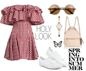 backpack, dress, and watch image