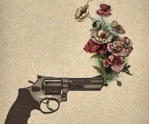 cool, gun, and flowers image