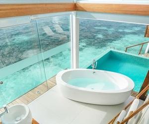 beach, travel, and bathroom image