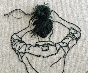 art, hair, and embroidery image