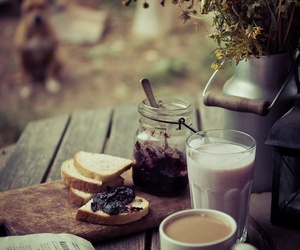 bread, smoothie, and coffee image