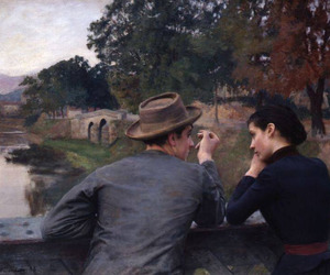 art, couple, and painting image
