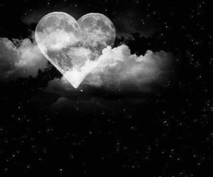 clouds, heart, and moon image