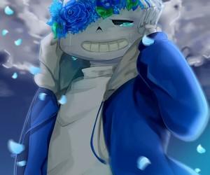 blue, flower crown, and sans image
