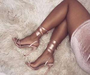 aesthetic, white, and rose gold shoes image