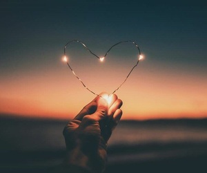 heart, light, and sunset image