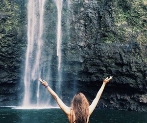 waterfall and girl image