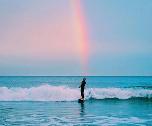 rainbow, beach, and blue image