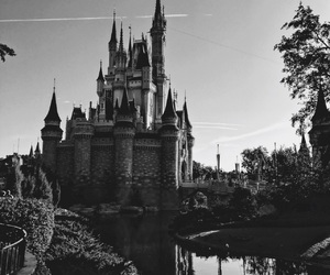 black and white, castle, and cinderella image